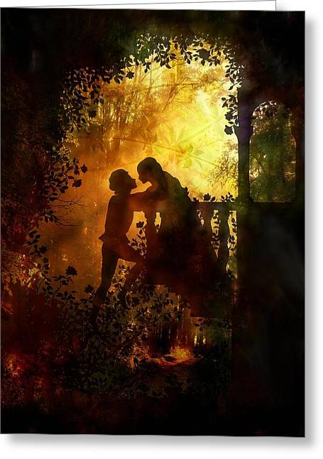 Light And Dark Mixed Media Greeting Cards - Romeo and Juliet - the love story Greeting Card by Lilia D