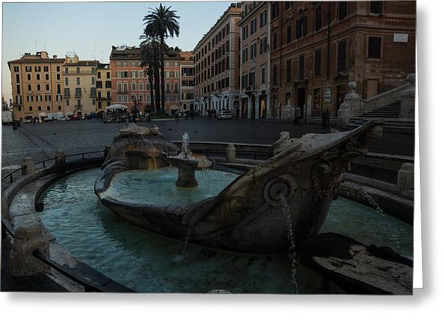 Stepping Stones Greeting Cards - Romes Fabulous Fountains - Fontana della Barcaccia at the Spanish Steps - Early Morning Greeting Card by Georgia Mizuleva