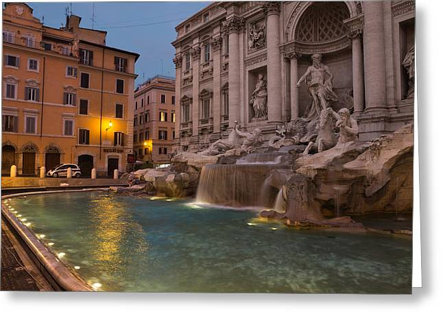 Water Flowing Greeting Cards - Romes Fabulous Fountains - Trevi Fountain at Dawn Greeting Card by Georgia Mizuleva