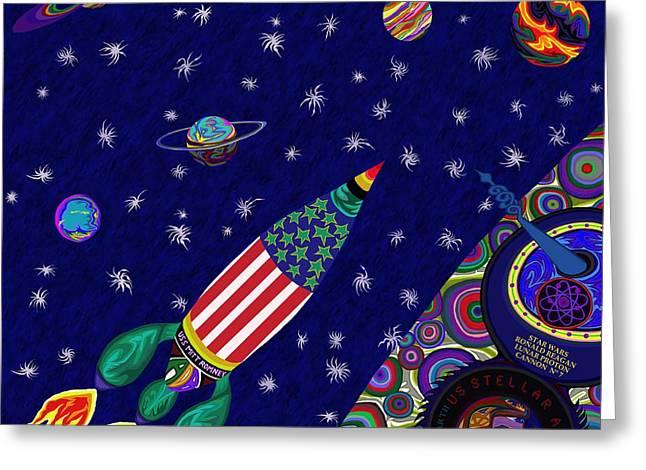 Battlestar Greeting Cards - Romney Rocket - Destination Mars 2023 Greeting Card by Robert  SORENSEN