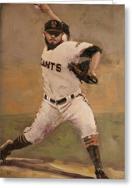 Sf Giants Greeting Cards - Romo NLCS Save Greeting Card by Darren Kerr