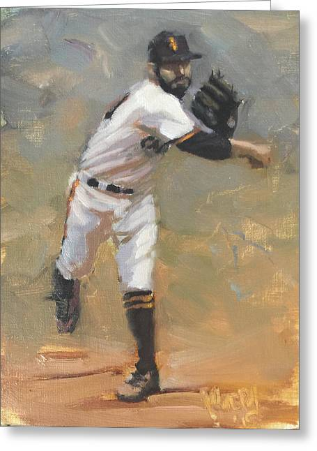 Sf Giants Greeting Cards - Romo Throw to First Greeting Card by Darren Kerr