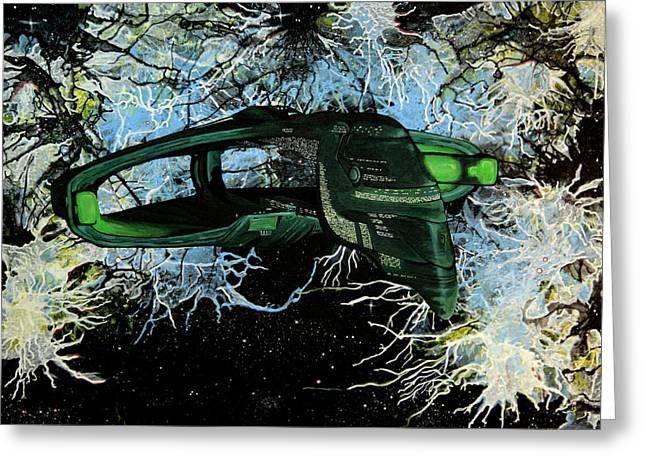 Enterprise D Greeting Cards - Romulan Warbird Greeting Card by Judith Groeger