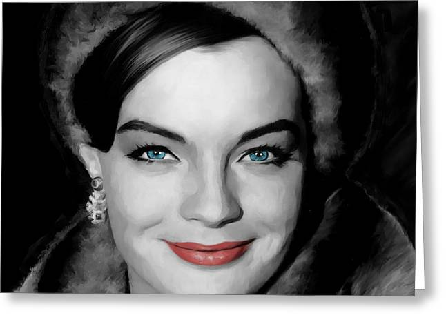 Size D Greeting Cards - Romy Schneider Large Size Portrait Greeting Card by Gabriel T Toro