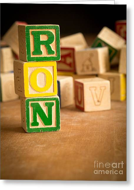 Ron Woods Greeting Cards - RON - Alphabet Blocks Greeting Card by Edward Fielding