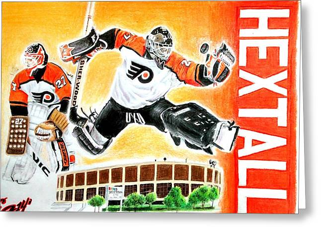 All-star Mixed Media Greeting Cards - Ron Hextall Greeting Card by Ezra Strayer