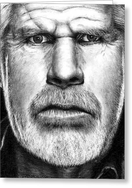 Sons Of Anarchy Greeting Cards - Ron Perlman as CLAY MORROW Greeting Card by Rick Fortson