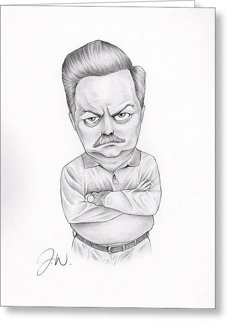 Ron Ron Greeting Cards - Ron Swanson Greeting Card by Jamie Warkentin