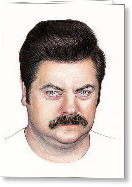 Celebrity Mixed Media Greeting Cards - Ron Swanson Portrait Nick Offerman Greeting Card by Olga Shvartsur
