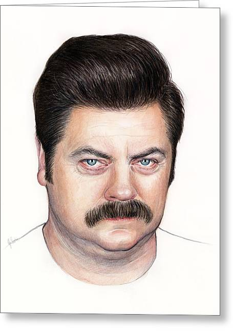 Ron Ron Greeting Cards - Ron Swanson Portrait Nick Offerman Greeting Card by Olga Shvartsur