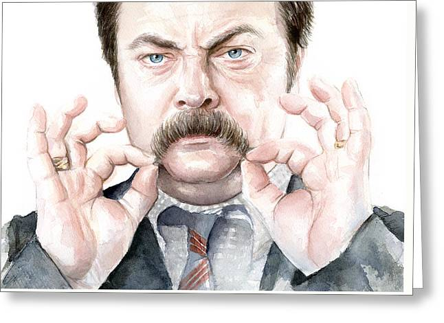 Recreation Greeting Cards - Ron Swanson Portrait Greeting Card by Olga Shvartsur