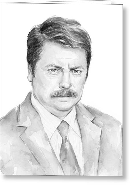 Recreation Greeting Cards - Ron Swanson Watercolor BW Greeting Card by Olga Shvartsur