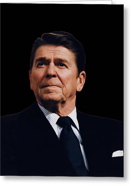Conservative Greeting Cards - Ronald Reagan  1911 - 2004 Greeting Card by Daniel Hagerman