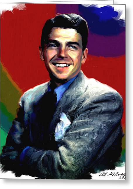 Allen Glass Greeting Cards - Ronald Reagan Greeting Card by Allen Glass