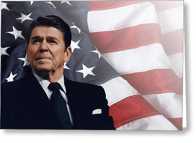 Tyrannies Greeting Cards - Ronald Reagan - American Greeting Card by Daniel Hagerman