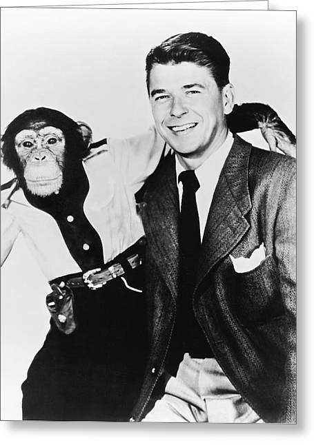 Ronald Reagan And Bonzo Greeting Card by Underwood Archives
