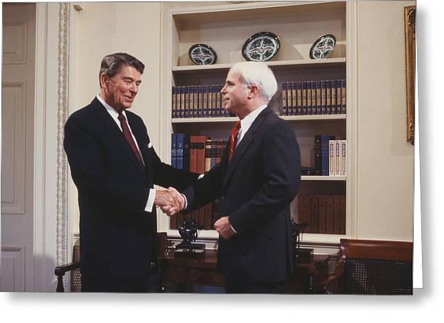 Oval Office Greeting Cards - Ronald Reagan and John McCain Greeting Card by Carol Highsmith