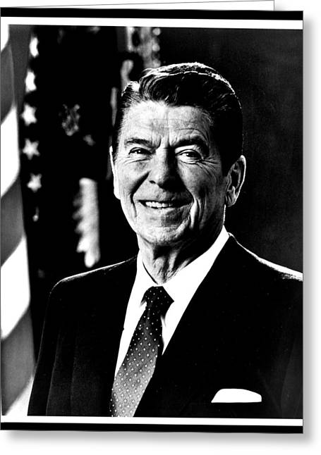 Conservative Greeting Cards - Ronald Reagan Greeting Card by Benjamin Yeager