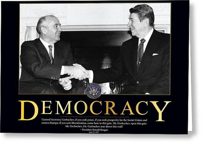 Classic Hollywood Photographs Greeting Cards - Ronald Reagan Democracy  Greeting Card by Retro Images Archive