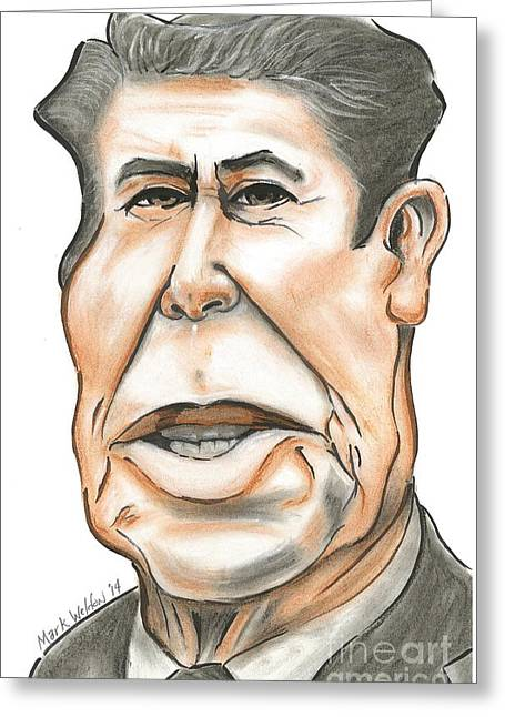 President Pastels Greeting Cards - Ronald Reagan Greeting Card by Mark Weldon