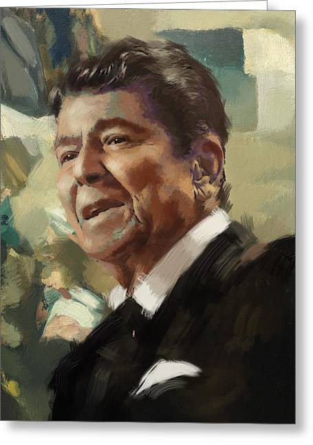 President Adams Greeting Cards - Ronald Reagan Portrait 5 Greeting Card by Corporate Art Task Force