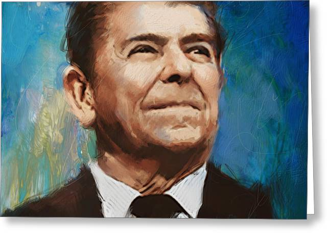 Ronald Reagan Portrait 6 Greeting Card by Corporate Art Task Force