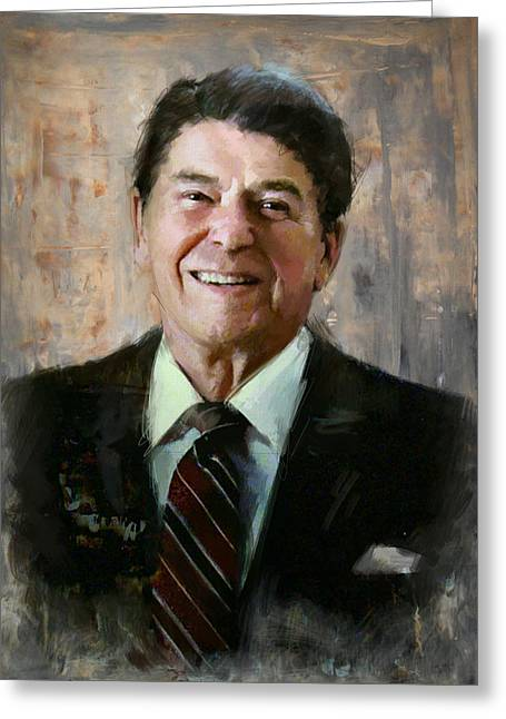 President Adams Greeting Cards - Ronald Reagan Portrait 7 Greeting Card by Corporate Art Task Force