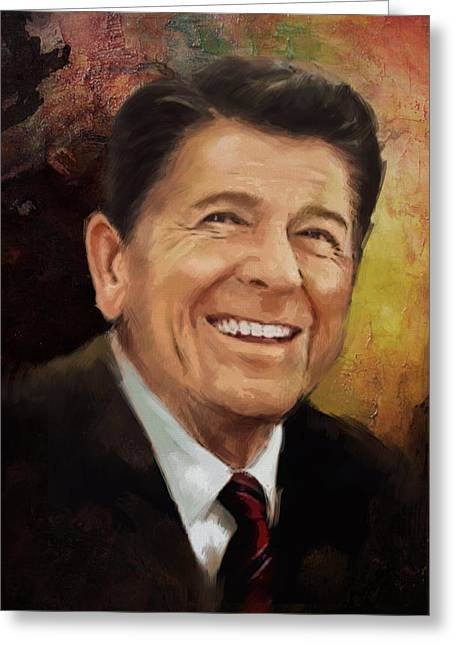 President Adams Greeting Cards - Ronald Reagan Portrait 8 Greeting Card by Corporate Art Task Force
