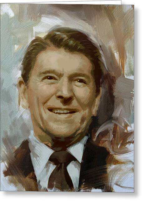 President Adams Greeting Cards - Ronald Reagan Portrait Greeting Card by Corporate Art Task Force