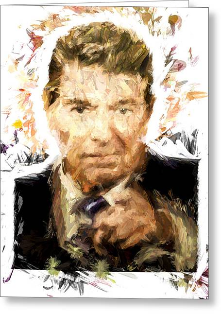 President Of America Mixed Media Greeting Cards - Ronald Reagan Greeting Card by Vivian Frerichs