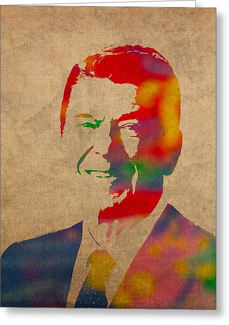 1980s Portraits Greeting Cards - Ronald Reagan Watercolor Portrait on Worn Distressed Canvas Greeting Card by Design Turnpike