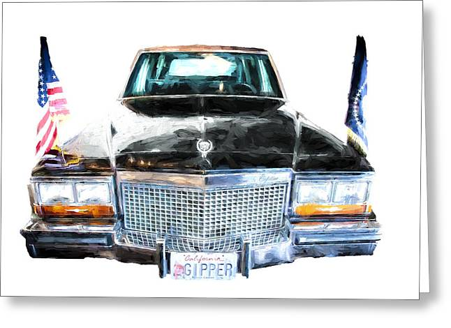 Gipper Greeting Cards - Ronald Reagans Car front Greeting Card by Vivian Frerichs