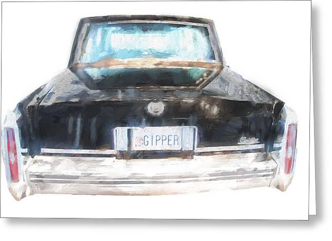 Gipper Greeting Cards - Ronald Reagans Car rear Greeting Card by Vivian Frerichs