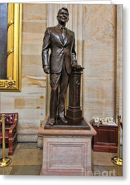 Most Visited Greeting Cards - Ronald Regan -  U S Capitol Statuary Hall Greeting Card by Allen Beatty