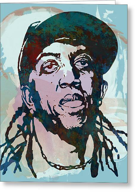 Labelled Mixed Media Greeting Cards - ronald slim williams Stylised Etching Pop Art Poster Greeting Card by Kim Wang