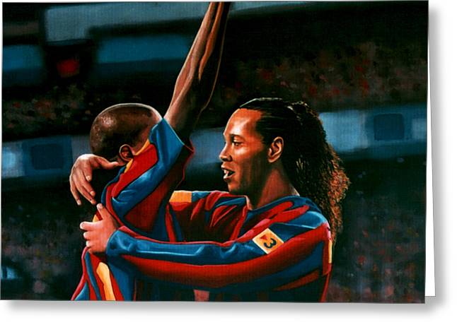 Cup Greeting Cards - Ronaldinho and Etoo Greeting Card by Paul Meijering
