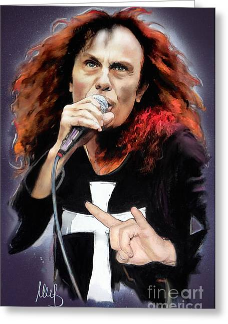 Hard Rock Mixed Media Greeting Cards - Ronnie James Dio Greeting Card by Melanie D