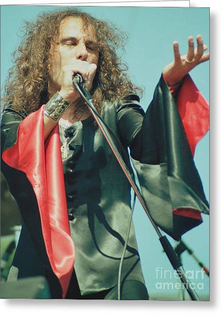 80s Greeting Cards - Ronnie James Dio of Black Sabbath during 1980 Heaven and Hell Tour-2nd New Photo  Greeting Card by Daniel Larsen