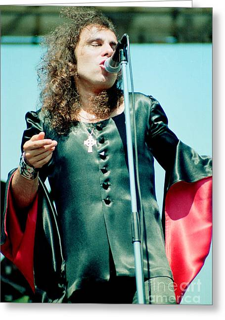 80s Greeting Cards - Ronnie James Dio of Black Sabbath during 1980 Heaven and Hell Tour  Greeting Card by Daniel Larsen