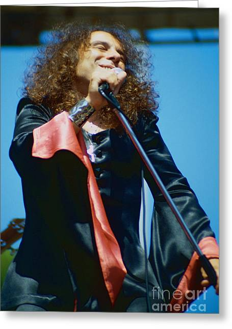 Tony Greeting Cards - Ronnie James Dio of Black Sabbath during 1980 Heaven and Hell Tour-New Photo  Greeting Card by Daniel Larsen