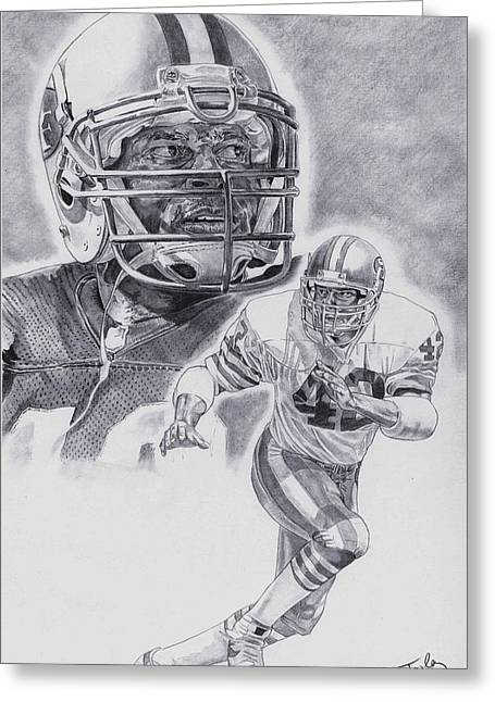 49ers Drawings Greeting Cards - Ronnie Lott Greeting Card by Jonathan Tooley
