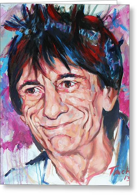 Keith Richards Paintings Greeting Cards - Ronnie Greeting Card by Tachi Pintor