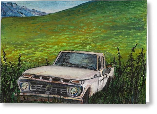 White Truck Greeting Cards - Rons Truck goes to the Yukon Greeting Card by Carolyn Doe