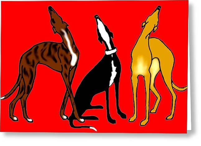 Greyhound Dog Greeting Cards - Roo Greyhounds Greeting Card by Jennifer Howard