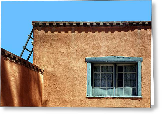 New Mexican Greeting Cards - Roof Corner with Ladder and Window Greeting Card by Nikolyn McDonald