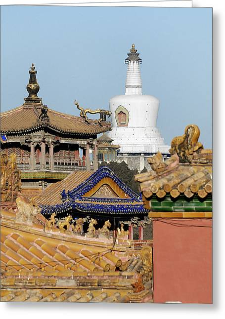 Forbidden City Greeting Cards - Roof Details in the Forbidden City - Beijing China Greeting Card by Brendan Reals