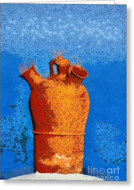 Roof Pottery In Sifnos Island Greeting Card by George Atsametakis