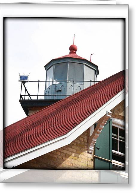 Eagle Bluff Lighthouse Greeting Cards - Roof to Lantern Greeting Card by IMH Photog