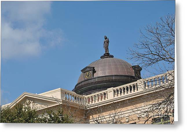 Legal Proceedings Greeting Cards - Roof Top Justice Greeting Card by Paul Wesson