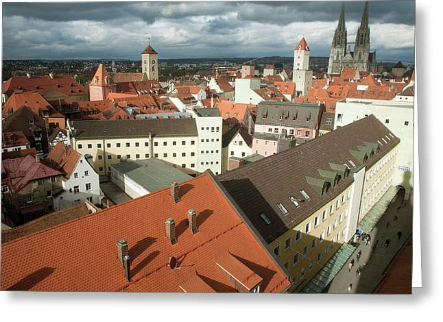 Roof Top View Of Old Town Regensburg Greeting Card by Dave Bartruff